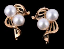 A pair of 1960s cultured pearl earrings by Mikimoto