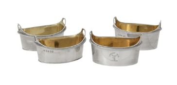 A pair of George III silver oval tub shaped salts by Richard Crossley