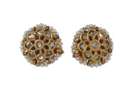 A pair of Indian diamond and seed pearl flower head earrings