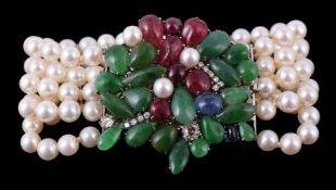 A cultured pearl and multi gem bracelet