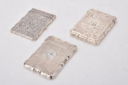 An Edwardian silver shaped rectangular card case by Jones & Crompton