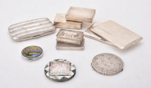 Y A collection of silver and silver mounted boxes