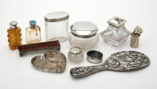 A collection of silver and silver mounted dressing table items