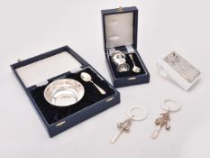 Y A collection of silver christening sets
