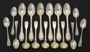 A set of six Victorian silver tea spoons by George Adams