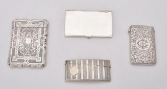 A Victorian silver shaped rectangular card case by Alfred Taylor