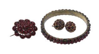 A pair of mid 20th century garnet earrings