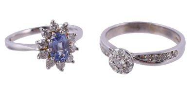 A 9 carat gold diamond and tanzanite cluster ring
