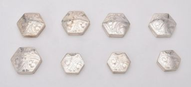 A collection of silver octagonal boxes