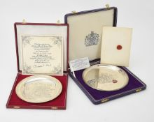 Two cased commemorative plates
