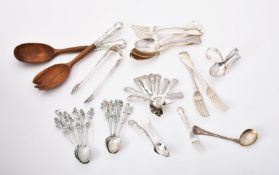 A collection of silver and silver coloured flatware