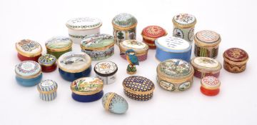 A collection of enamel boxes