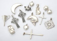 A collection of silver and coloured pendants