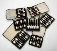 A collection of cased silver spoons