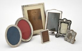 Seven silver mounted photo frames