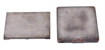An Art Deco silver coloured compact case