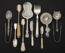 Y A collection of silver and silver mounted flatware