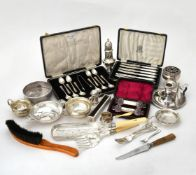 Y A collection of silver and silver mounted items