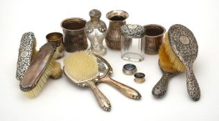 Y A collection of silver and silver mounted dressing table items
