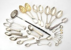 A collection of silver flatware