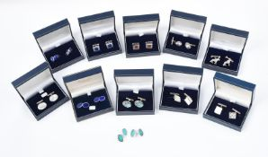 Y A collection of silver cufflinks