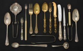 Y A collection of silver, silver coloured and silver mounted flatware