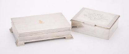 A silver mounted rectangular cigarette box
