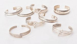 A collection of silver bangles