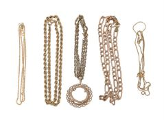 A collection of gold coloured chains