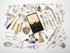 Y A collection of assorted silver flatware