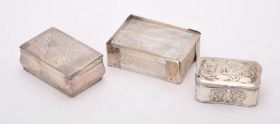 Y A mother of pearl and silver coloured mounted box