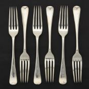 A set of six Hanoverian pattern table forks by Barker Brothers Silver Ltd.