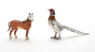 A silver coloured and enamel model of a pheasant