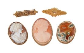 A small collection of brooches