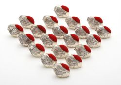 Twenty silver mounted chick pin cushions