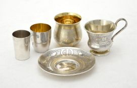 A Russian silver cup and saucer by Ivan Sveshnikov