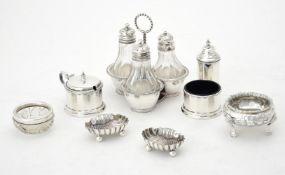 A Victorian silver trefoil cruet stand