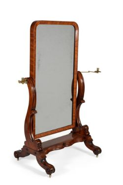 A William IV mahogany cheval mirror