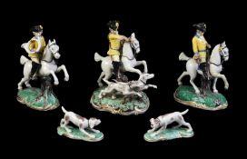 A group of Nymphenburg 'Frankenthal Hunt' models