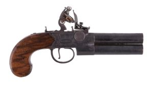 A double-barrelled tap-action over and under flintlock pocket pistol by Knubley