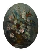 A decorative oil on papier mache, oval together with two watercolours