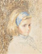 Jeremy Holt (20th century), Portrait of a girl wearing a blue headband