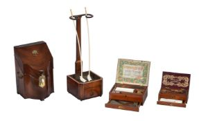 A George III mahogany and satinwood banded church warden's pipe rack