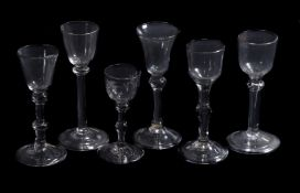 Six various balustroid wine glasses