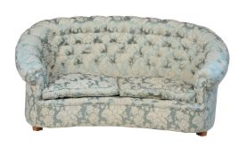 A damask button upholstered sofa