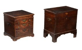 An oak chest or small coffer