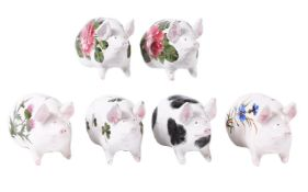 Six various Wemyss (Griselda Hill) and Plichta small models of pigs