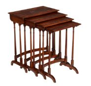 A fiddle back mahogany nest of quartetto tables