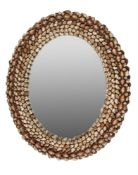 An oval wall mirror