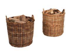 Two similar twin handled wicker baskets
